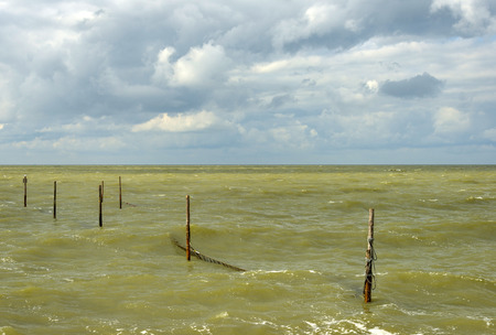 markermeer: Fish trap in a stormy lake in spring Stock Photo