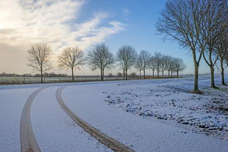 traces pneus: Traces de pneus dans la neige Banque d'images