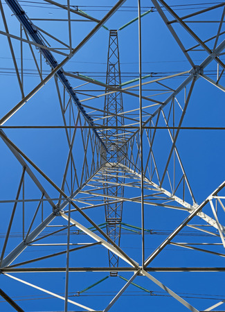 power line tower: Tower of an overhead power line in winter