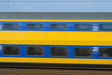 passenger train: Electric passenger train moves at high speed Stock Photo