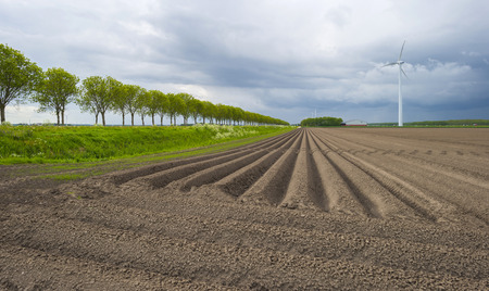 furrows: Plowed field with furrows under deteriorating weather Stock Photo