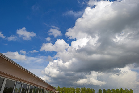 precipitation: Cumulus clouds in a blue sky in spring