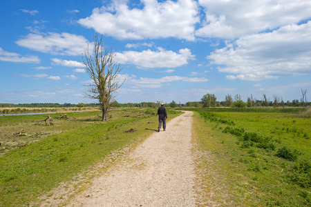 dirt road recreation: Woman walking through nature in spring