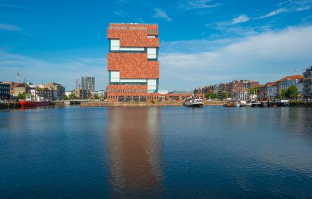 antwerp: Port of Antwerp in sunlight in summer Editorial