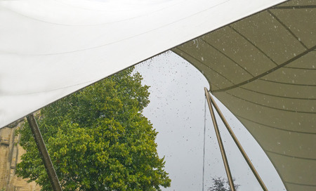 tensile: Tensile structure as a roof against the rain Stock Photo