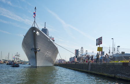 naval: Naval ship moored in the harbor of Amsterdam