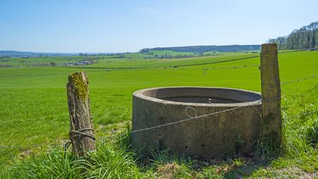 aljibe: Cisterna en un prado soleado en primavera