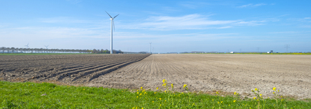 plowed field: Plowed field with furrows in sunlight in spring Stock Photo