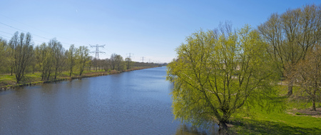 shores: Sunny shores of a canal in spring