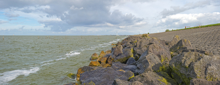 markermeer: Dike along a lake in summer Stock Photo