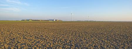 wind farm: Wind farm along a plowed field at sunset