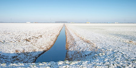 ditch: Snowy ditch in a field in winter Stock Photo