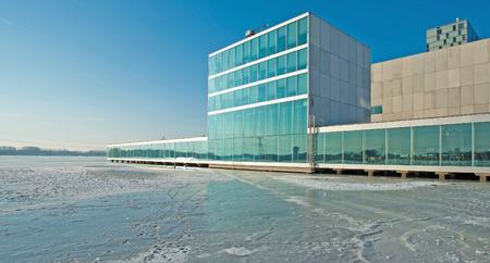 ice sheet: Theater along a frozen lake in winter