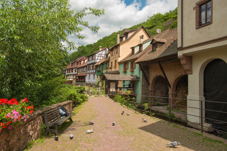 timbered: Village with timbered houses in summer Stock Photo