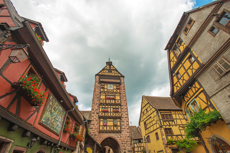 timbered: Town with timbered houses in summer Stock Photo