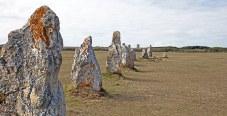 Menhirs standing in a field in summer