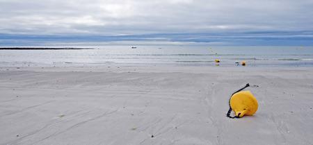 beach buoy: Buoy on a beach along a sea in summer