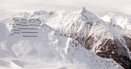 ski slopes: Ski slopes in the mountains in winter