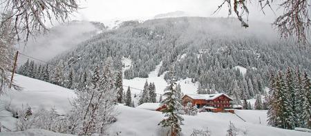 montaña cubierto de nieve en invierno