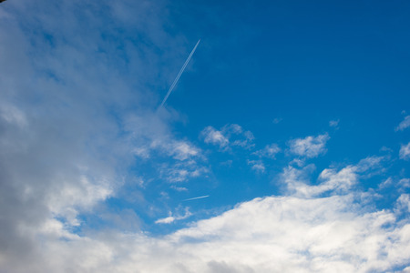 flevoland: Clouds in a blue sky in winter Stock Photo