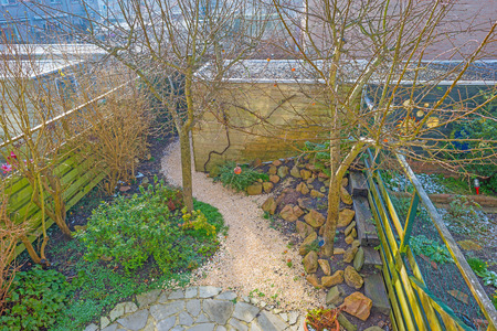 Rockery garden in sunlight in winter Stock Photo