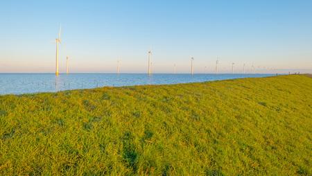 flevoland: Wind turbines in a lake at sunrise Stock Photo