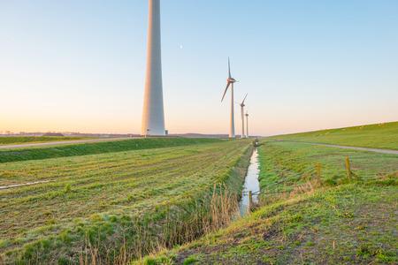 dike: Wind turbines along a dike at sunrise