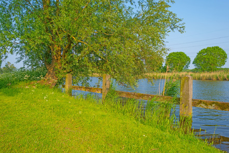 rural area: Canal through a rural area in spring