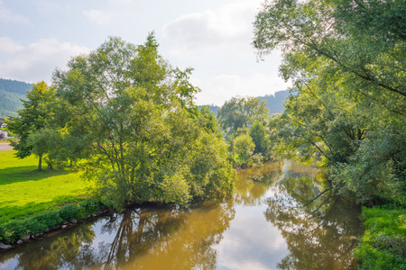 meandering: River meandering through a sunny landscape