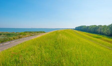 lelystad: Dike along field in summer Stock Photo