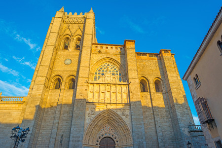 avila: Detail of a cathedral in the city of Avila Stock Photo