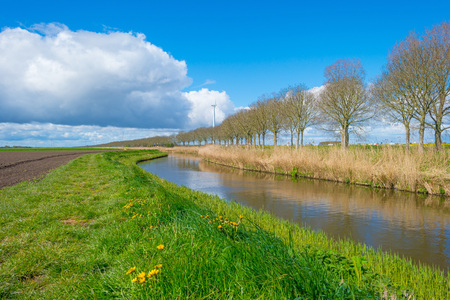 Canal through the countryside in springtime Stock Photo