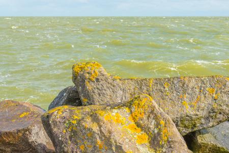 Coastline of basalt stones along a lake in sunlight in summer