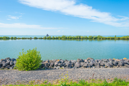 Kustlijn van een meer in zonlicht in de zomer Stockfoto - 83925001