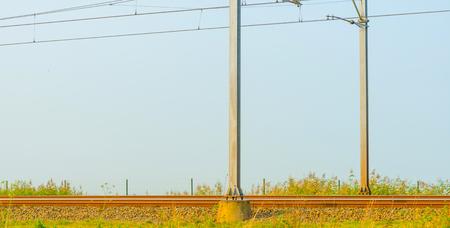 Railway through nature sunlight to fall
