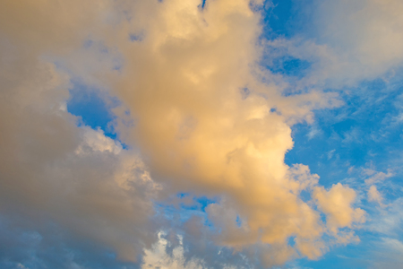 Clouds in a blue sky in autumn Stock Photo