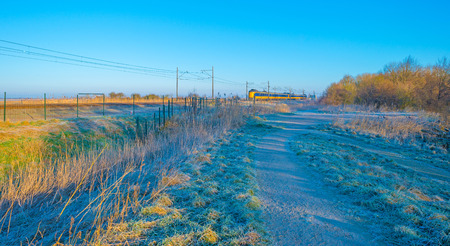 Train riding through a frozen field in sunlight in winter