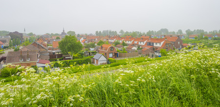 Green grassy dike protecting land against the North Sea Stockfoto - 101675548