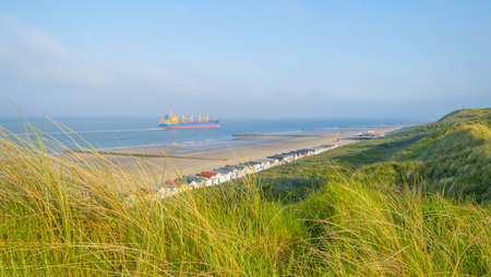 Recreational beach along the North Sea viewed from a dune in spring Stock Photo