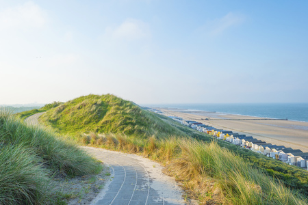 Recreational beach along the North Sea viewed from a dune in spring Stockfoto