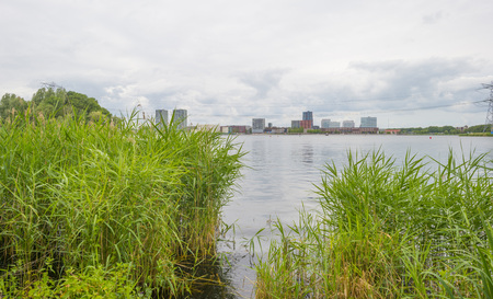 Skyline of a city along the shore of a lake in spring Stock Photo