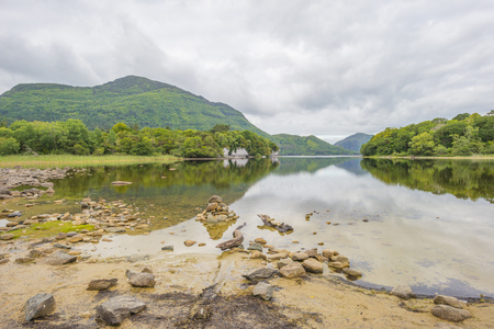 Panorama of a lake and a lake in a national park in Ireland