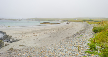 Panorama of the coast of an irish island at the atlantic ocean in summer
