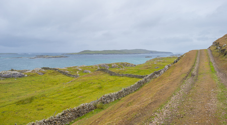 Path along the coast of the irish island Inishbofin in summer Stock Photo