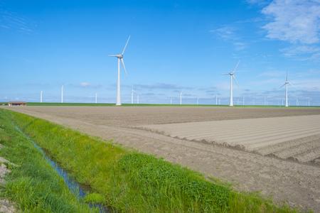Furrows in a plowed field below a blue sky in sunlight in spring Stockfoto - 121675628
