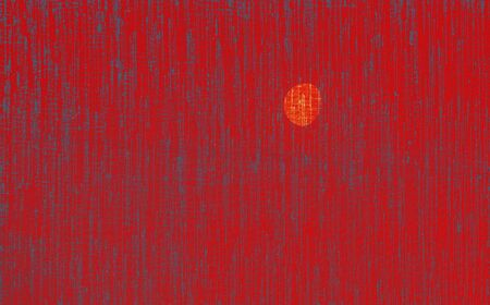 The brilliance of a red canvas with the moon in the sky lit by the sun at a spring day as a decorative background