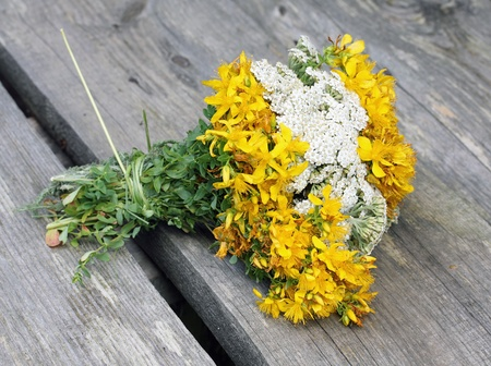 Bouquet from wildflowers, Yarrow, St. Johns Wort photo