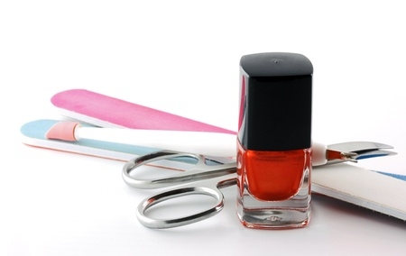 nail scissors: Manicure Set: Nail Polish, Nail File and Nail Scissors Stock Photo