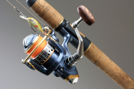 wobler: Spinning rod and reel with wobler lure