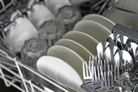Dishwasher after cleaning process photo
